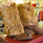 Only in YYC! Flamboyant Feathery Cougar Cowbow Boots!
