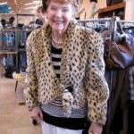 P's mom tries on a cougar jacker. Meow!