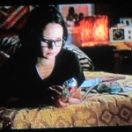 Enid from Ghost World with her Zebra pillows