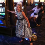 Olive in zebra at the casino